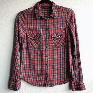TOPSHOP Red Green Plaid Button Down Shirt XS